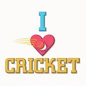 picture of cricket ball  - Stylish text I Love Cricket with illustration of red ball hitting the heart on white background - JPG