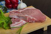 foto of t-bone steak  - Raw t - JPG