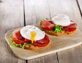 picture of tomato sandwich  - sandwich with prosciutto and poached egg tomato - JPG
