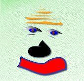 foto of auburn  - Auburn Sad Clown. Digital illustratiom on green background. - JPG