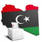 foto of libya  - detailed illustration of a ballotbox in front of a map of Libya - JPG