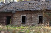 image of house woods  - Abandoned old wooden house in the woods without - JPG