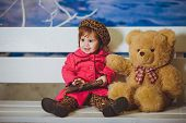 pic of baby bear  - Cute funny baby girl with toy bear - JPG