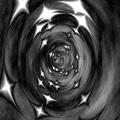foto of scary  - Greyscale illustration of scary 3d tunnel with stars  - JPG