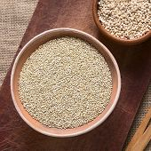 pic of quinoa  - Overhead shot of raw white quinoa  - JPG