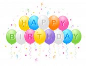 image of helium  - Birthday greeting card with colorful balloons and confetti with happy birthday text - JPG