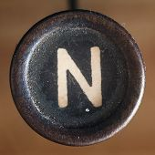 stock photo of typewriter  - Details of a dusty old letter closeup of vintage typewriter - JPG