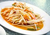 picture of green papaya salad  - Green papaya salad also known as Som Tum the hot and spicy favourite appetizer from Thailand