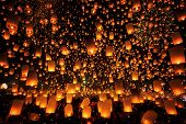 picture of floating  - Thai people floating lamp in Tudongkasatarn Chiangmai Thailand - JPG