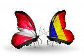 picture of chad  - Two butterflies with flags on wings as symbol of relations Latvia and Chad Romania - JPG