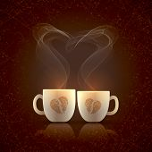 image of two hearts  - Two cream color cups - JPG