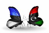 stock photo of libya  - Two butterflies with flags on wings as symbol of relations Estonia and Libya - JPG