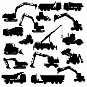 stock photo of construction machine  - Silhouettes of construction machines - JPG