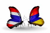 picture of armenia  - Two butterflies with flags on wings as symbol of relations Thailand and Armenia - JPG