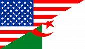 stock photo of algeria  - united states of america and algeria half country flag - JPG