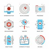 foto of internet icon  - Thin line icons of internet of things technologies big datum analysis smart tech and futuristic communication processing - JPG