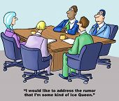 pic of gag  - Cartoon of woman with ice colored hair talking to team members - JPG