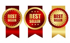picture of gold medal  - Best seller award ribbons in elegant gold and red maroon color specially for web site business promotion campaigns - JPG