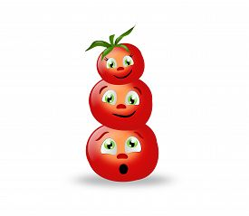 picture of superimpose  - Happy three tomatoes superimposed with cute faces - JPG