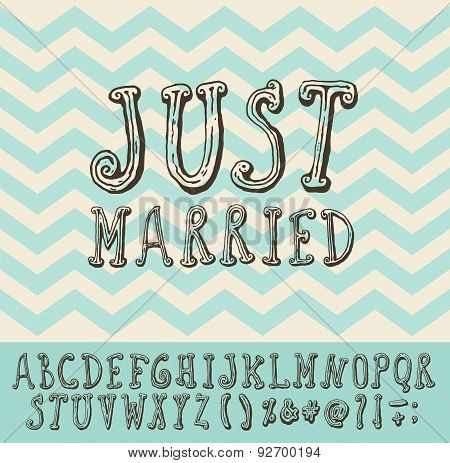 Just Married Vintage Trendy Illustration Font Type