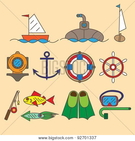 Set of contour icons withe sea and maritime objects.