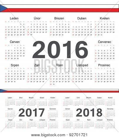 Vector Czech Circle Calendars 2016, 2017, 2018