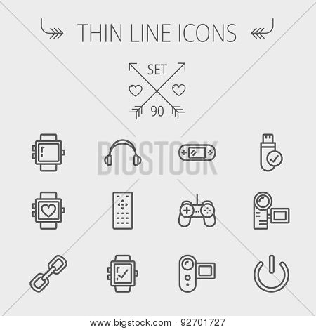 Technology thin line icon set for web and mobile. Set includes -video game, joystick, digital cam, power button, remote control, digital watch, USB . Modern minimalistic flat design. Vector dark grey