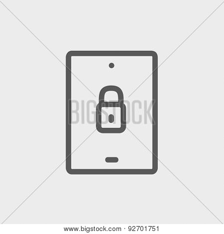 Smartphone security icon thin line for web and mobile, modern minimalistic flat design. Vector dark grey icon on light grey background.