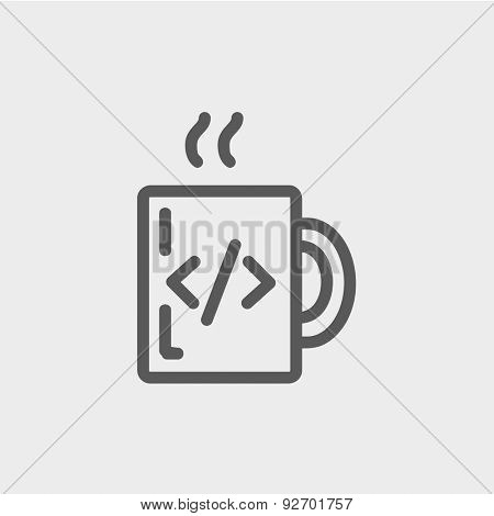 Mug with hot coffee icon thin line for web and mobile, modern minimalistic flat design. Vector dark grey icon on light grey background.