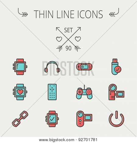 Technology thin line icon set for web and mobile. Set includes-video game, joystick, digital cam, power button, remote control, digital watch, USB. Modern minimalistic flat design. Vector icon with