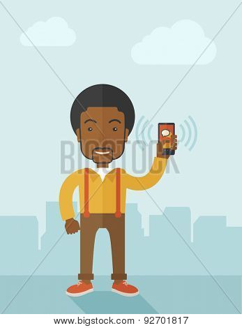 An office worker holding his smartphone vibrating. A contemporary style with pastel palette soft blue tinted background with desaturated clouds. Vector flat design illustration. Vertical layout.