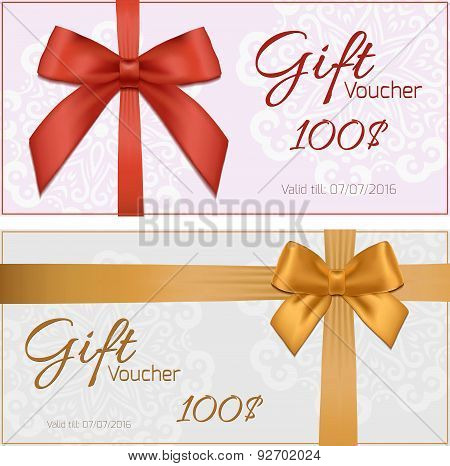 Voucher Template With Floral Pattern, Border, Red And Gold Bow And Ribbons. Design Usable For Gift C