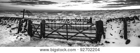 Stunning Winter Panoramic Landscape Snow Covered Countryside In Monochrome Tones