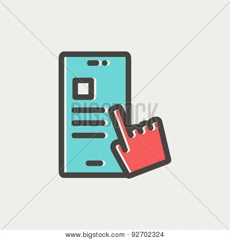Smartphone and hand checking of work task schedule icon thin line for web and mobile, modern minimalistic flat design. Vector icon with dark grey outline and offset colour on light grey background.