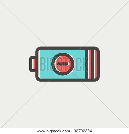 Negative power battery icon thin line for web and mobile, modern minimalistic flat design. Vector icon with dark grey outline and offset colour on light grey background.