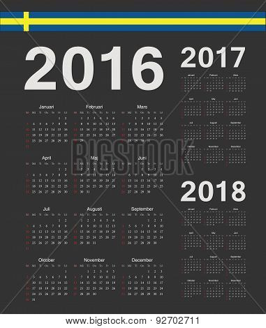 Set Of Black Swedish 2016, 2017, 2018 Year Vector Calendars