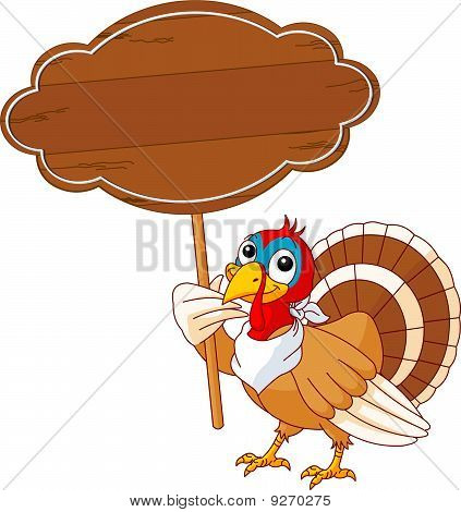 Thanksgiving Turkey With Sign
