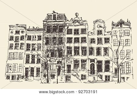 Amsterdam Vintage Engraved Illustration Hand Drawn