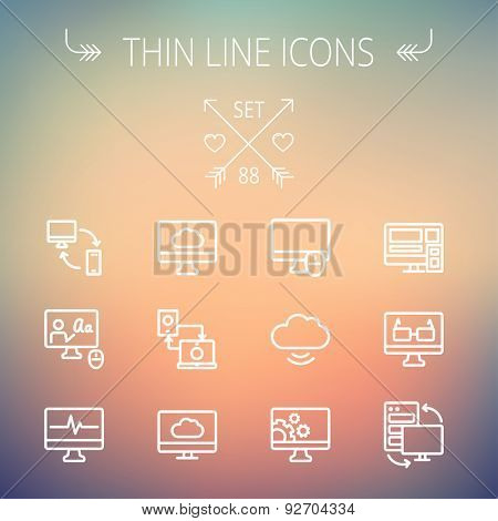 Technology thin line icon set for web and mobile. Set includes monitors, smartphone, cloud, mouse, wifi, gear, speaker. Modern minimalistic flat design. Vector white icon on gradient  mesh background.
