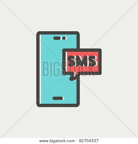 Mobile phone with SMS can receive and send messages icon thin line for web and mobile, modern minimalistic flat design. Vector icon with dark grey outline and offset colour on light grey background.