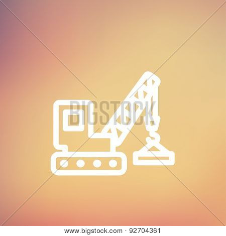 Lifting crane trailer icon thin line for web and mobile, modern minimalistic flat design. Vector white icon on gradient mesh background.