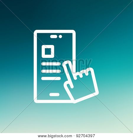 Smartphone and hand checking of work task schedule icon thin line for web and mobile, modern minimalistic flat design. Vector white icon on gradient mesh background.