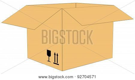 Open cardboard box. Vector illustration