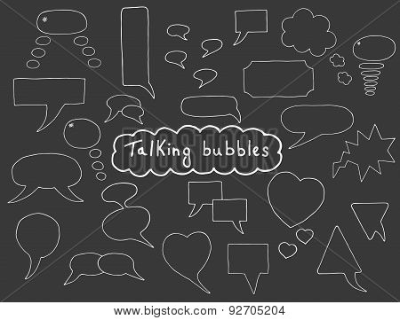 Hand drawn bubbles set