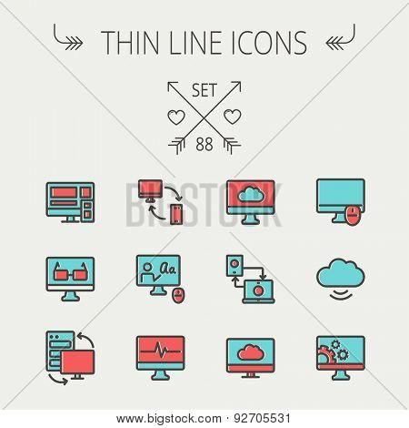 Technology thin line icon set for web and mobile. Set includes monitors, smartphone, cloud, mouse, wifi, gear, speaker. Modern minimalistic flat design. Vector icon with dark grey outline and offset