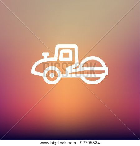 Road roller icon thin line for web and mobile, modern minimalistic flat design. Vector white icon on gradient mesh background.