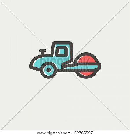 Road roller icon thin line for web and mobile, modern minimalistic flat design. Vector icon with dark grey outline and offset colour on light grey background.