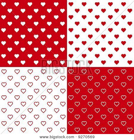 4 Seamless Tiny Hearts Patterns