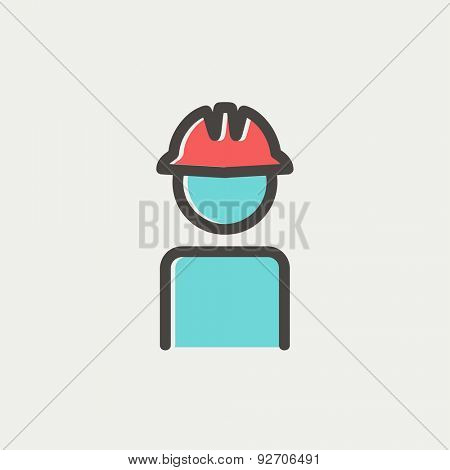 Worker wearing hard hat icon thin line for web and mobile, modern minimalistic flat design. Vector icon with dark grey outline and offset colour on light grey background.
