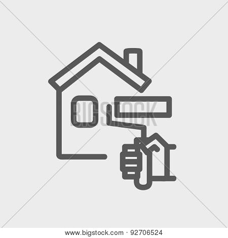 House painting using paint roller icon thin line for web and mobile, modern minimalistic flat design. Vector dark grey icon on light grey background.